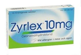 Bild på Zyrlex, filmdragerad tablett 10 mg UCB Nordic A/S 14 st