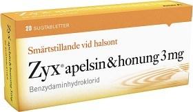 Bild på Zyx apelsin & honung, sugtablett 3 mg 2 x 10 st