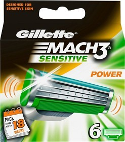 Bild på Gillette Mach3 Sensitive Power rakblad 6 st