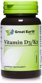Bild på Great Earth Vitamin D3/K2 90 kapslar