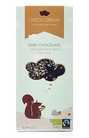 Bild på Green Dream Dark Chocolate Hazelnuts & Raisins EKO 85g
