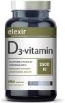 Elexir D3-vitamin 2500 IE 180 kapslar