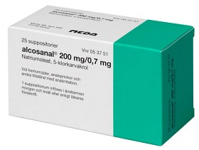 Bild på Alcosanal, suppositorium 200 mg 25 st