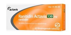 Bild på Ranitidin Actavis, filmdragerad tablett 150 mg 30 st