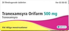 Bild på Tranexamsyra Orifarm, filmdragerad tablett 500 mg 20 st