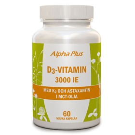 Bild på D3 Vitamin 3000IE med K2 & Astaxantin 60 kapslar