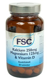 Bild på FSC Kalcium 250 mg Magnesium 125 mg & Vitamin D 60 tabletter