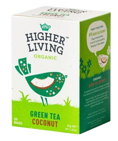 Bild på Higher Living Green Tea Coconut 20 tepåsar