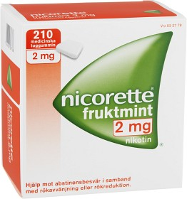 Bild på Nicorette Fruktmint, medicinskt tuggummi 2 mg 210 st