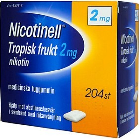 Bild på Nicotinell Tropisk frukt, medicinskt tuggummi 2 mg 204 st