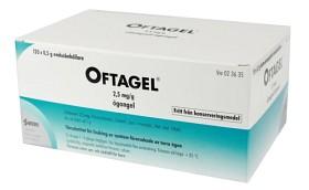 Bild på Oftagel, ögongel i endosbehållare 2,5 mg/g 120 st