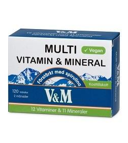 Bild på V&M Multi Vitamin & Mineral med spirulina 120 tabletter